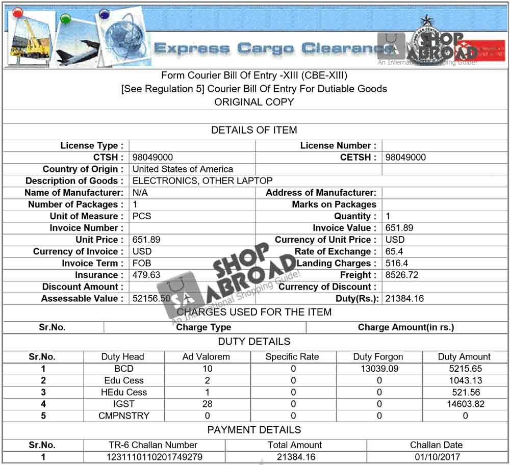 Import Duty Laptop India