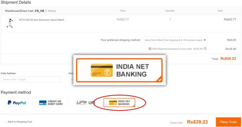 Net Banking Payment on Banggood