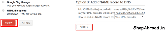 Verify Google and Bing