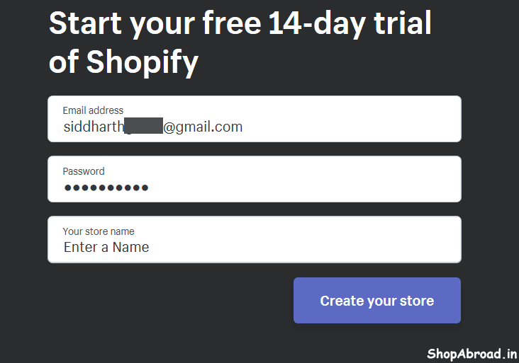 Enter Password and Store Name in Shopify