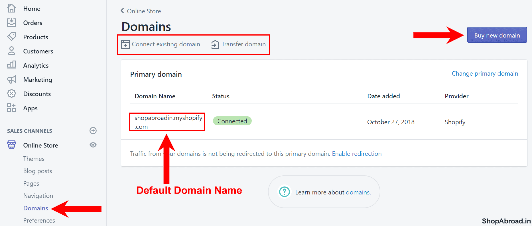 Register Domain Name in Shopify
