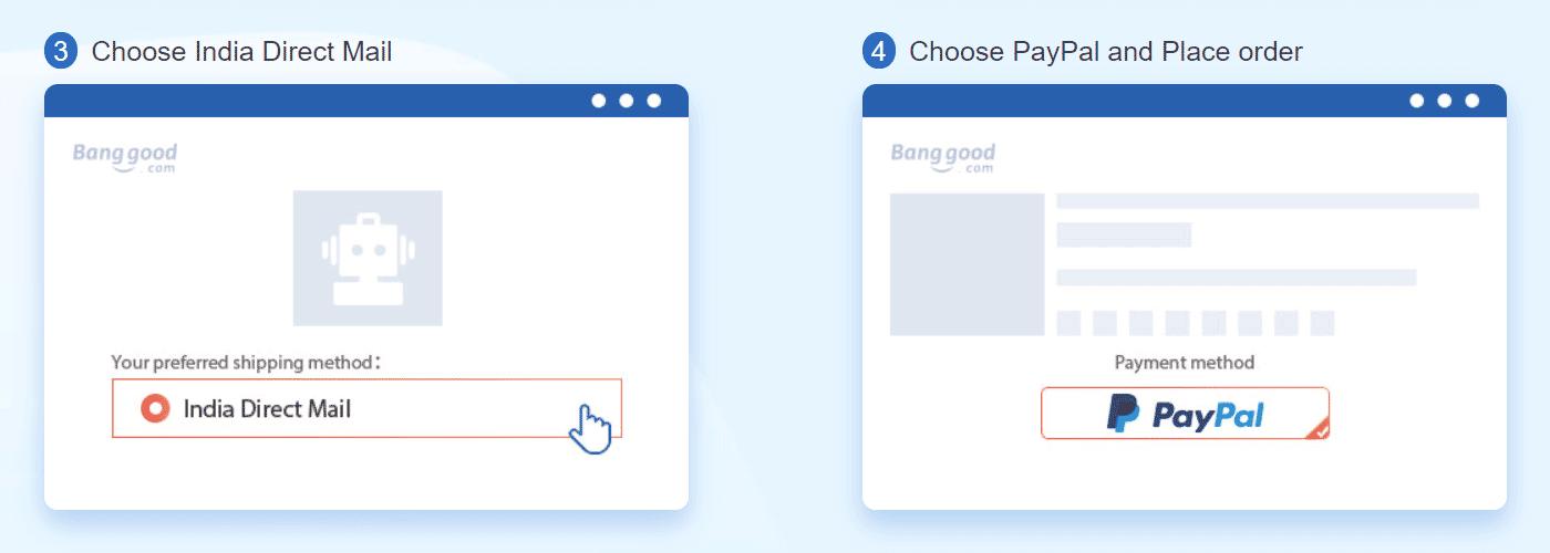 Select PayPal as Payment Method on Banggood
